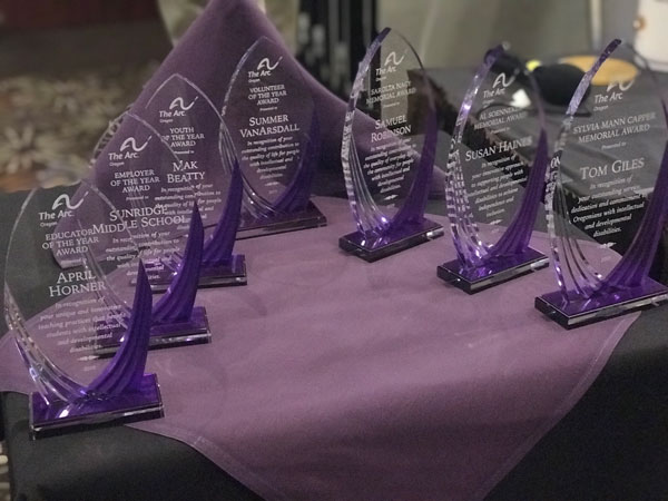 Awards lined up and ready to be given to winners