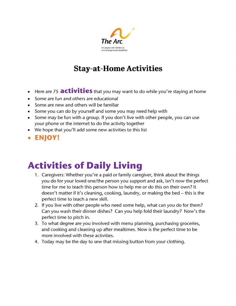 Image of flier for fun stay at home activities