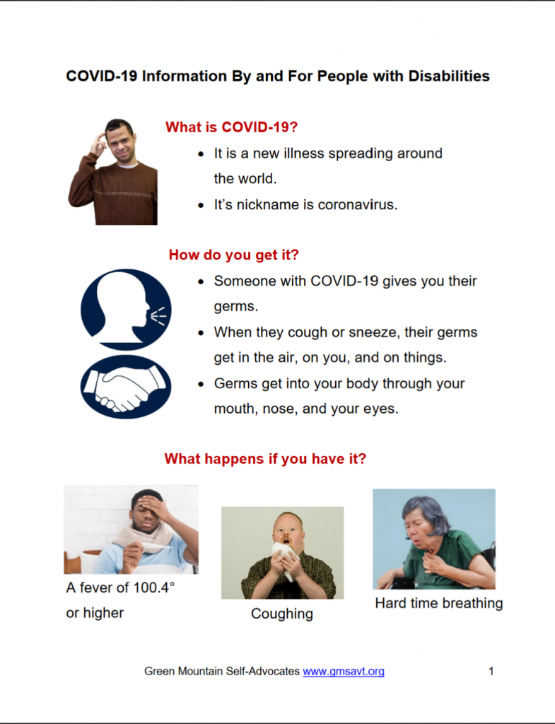 Image of first page of a COVID-19 information guide for people with disabilities