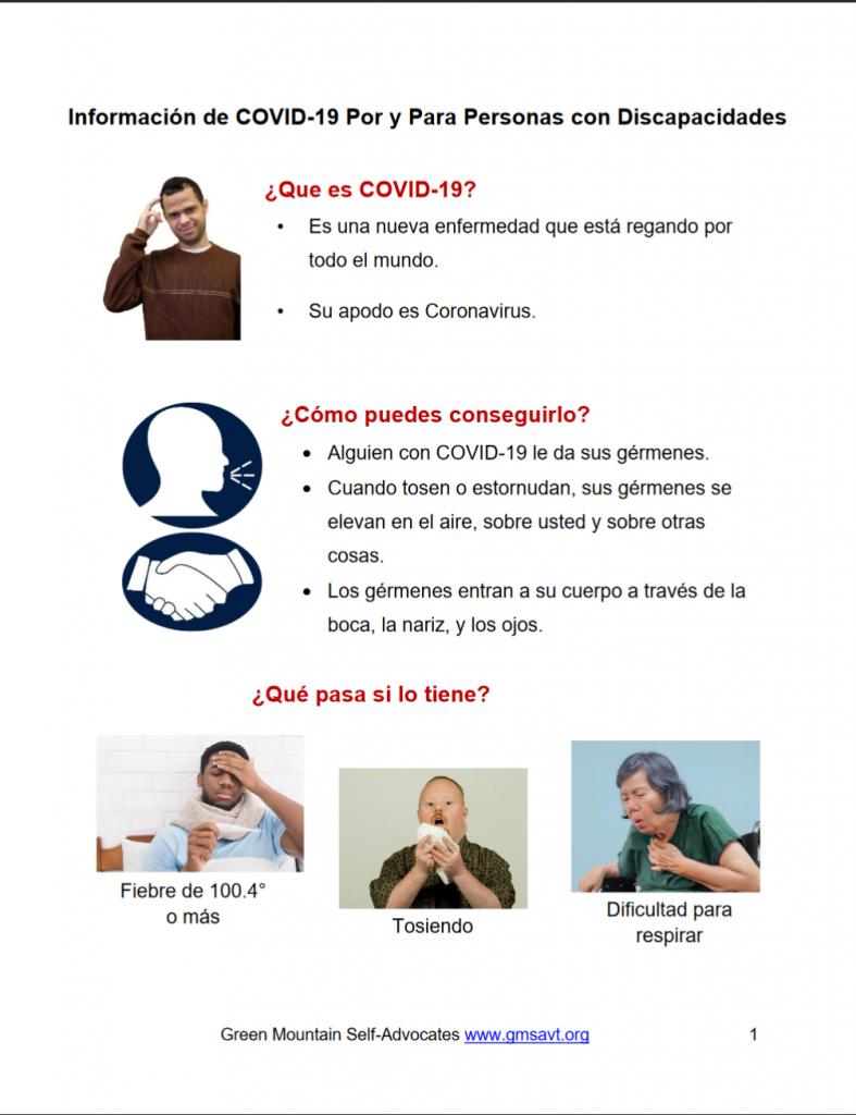 Información de COVID-19 Por y Para Personas con Discapacidades