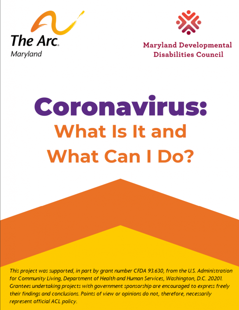Image of front page of COVID-19 guide from The Arc of Maryland