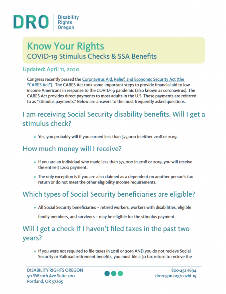 Image of flier on Rights for Stimulus payments
