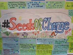 Image of graphic drawing with Seeds of Change and sticky notes all around with ideas from participants
