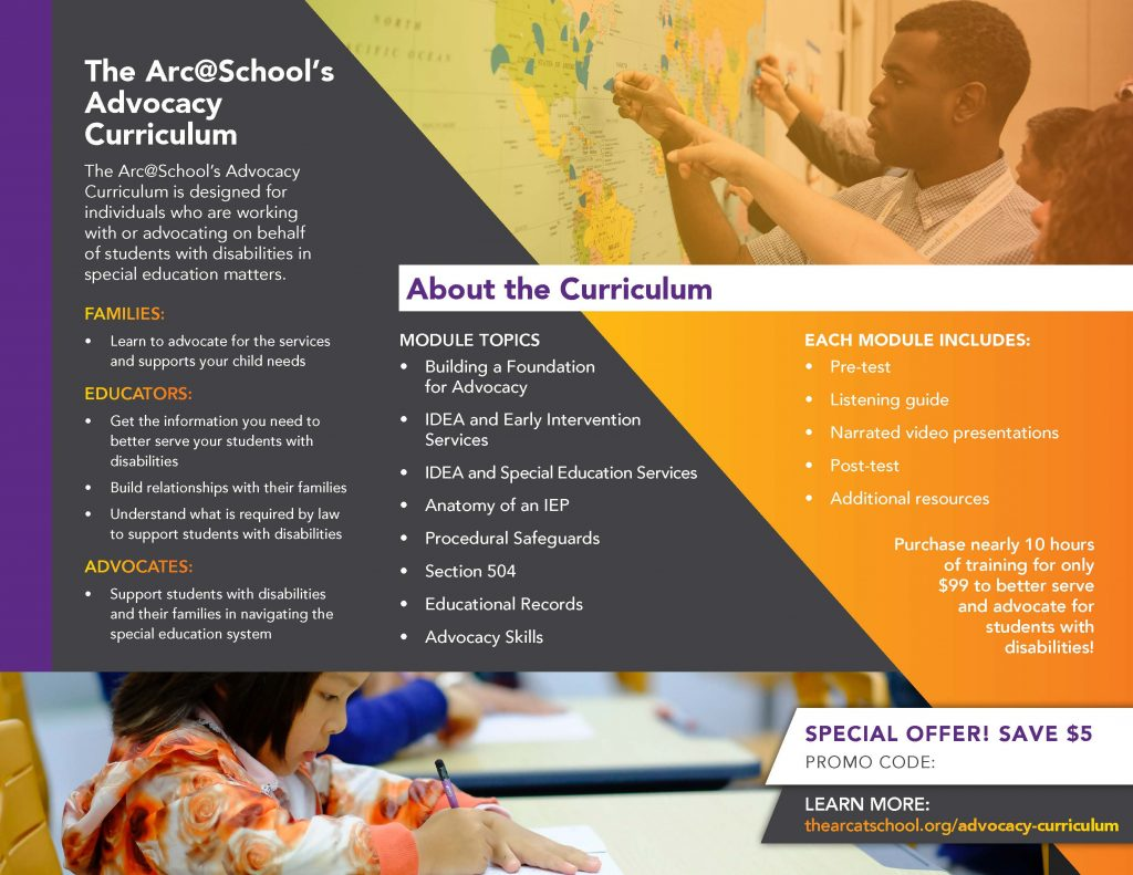 Image of back of The Arc @ School brochure